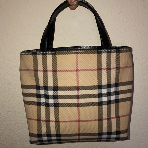 Burberry Handbags - Burberry Mini Square Coated Canvas Tote Bag